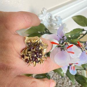 Vintage Honey Amber Glass Flower ring